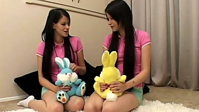 Three slutty teens give a blowjob to a guy in POV video