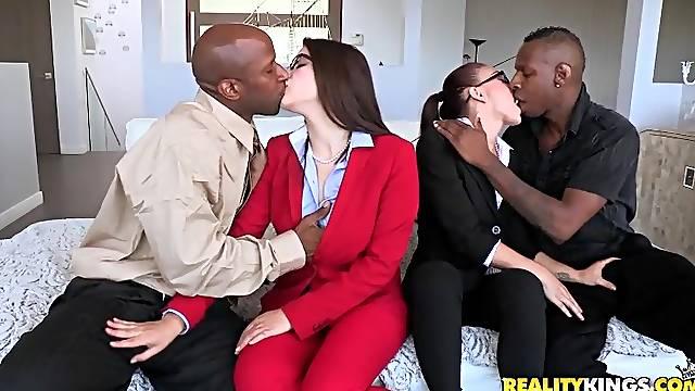 Amazing interracial hardcore foursome in CFNM style.