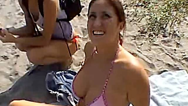 Bubbly brunette babe with big natural tits milking milking a cock outdoors
