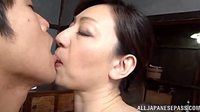 Gorgeous japanese av model sucks cock and gets fucked