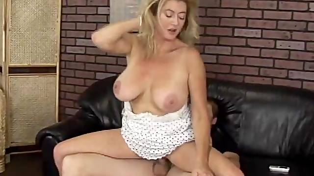Blonde chubby MILF rides dick and gets her mouth fucked