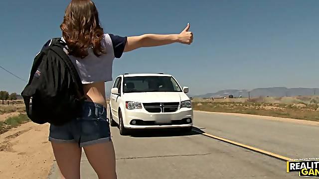 Old Guy Picks Up Cute Teen & Fucks Her In His Car