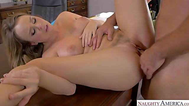 Beauty with big boobs Alexis Adams screwed in her own office