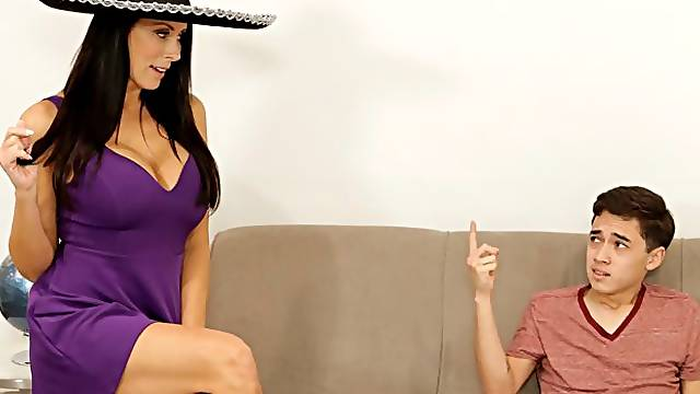 Big-boobed brunette Reagan Foxx screwed hard in the doggy style pose