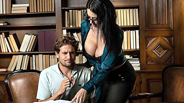 Two teachers Reagan Foxx and Mackenzie Moss fucked in the library