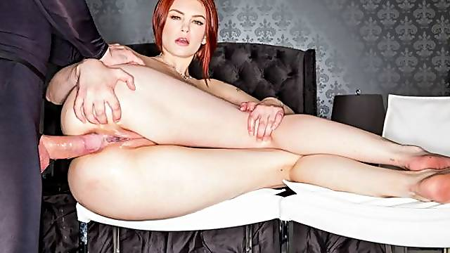 Anal in the missionary pose with a slender redhead Bree Daniels