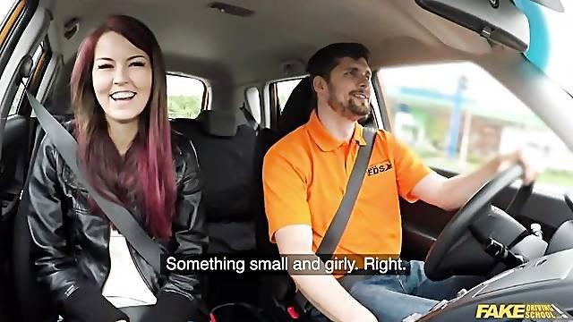 Driving school teacher pounds a sensual redhead Cindy Shine