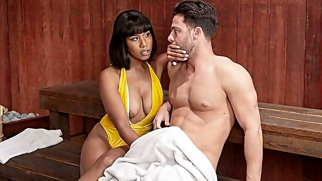 Two interracial babes Desiree Dulce and Jenna Foxx fuck with a director