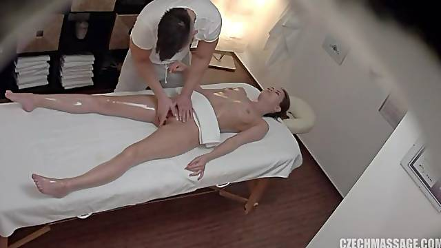 Seduced girl with long legs opens her crack on the hidden cam