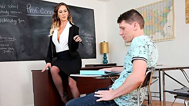 Big-boobed busty teacher Cherie Deville fucks with a horny stud