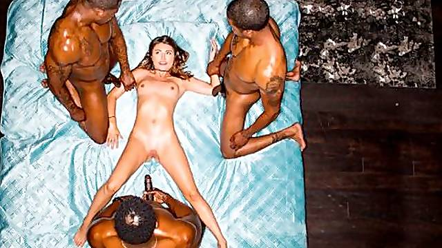 Double black penetration with a sex-addicted white babe Adria Rae