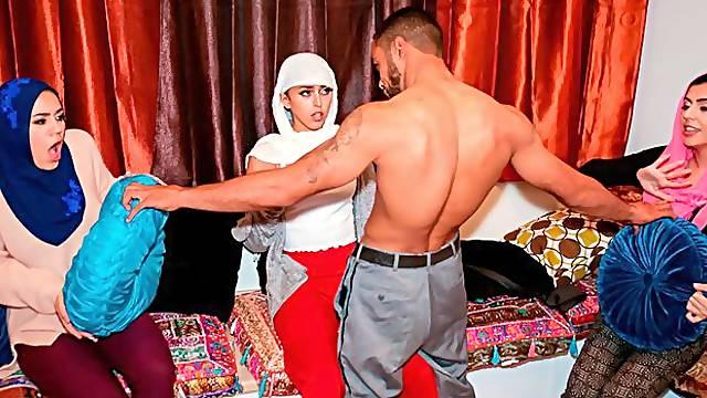 Muslim hotties Sophia Leone, Audrey Royal and Monica Sage VS huge brown cock