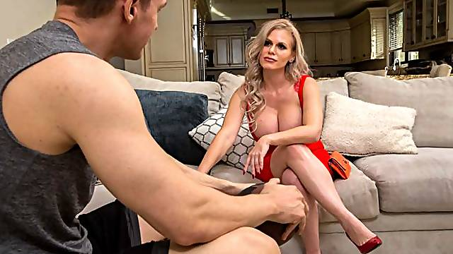 Stunning mommy with huge boobs Casca Akashova fucks with a young man