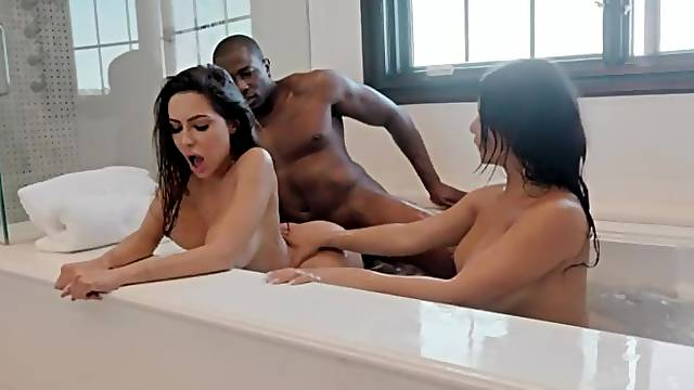White girls Rose Monroe and Lela Star are fucking with a big black cock