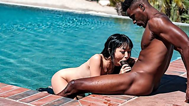 Big black wiener for a sex-addicted Asian brunette Marica Hase