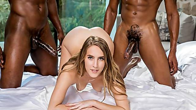 Two big black snakes for a truly insatiable white doll Cadence Lux
