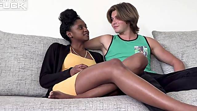 Slender young ebony Kourtney Harris fucks with a white dick for the first time