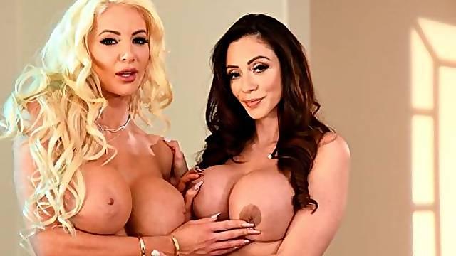 Sporty chicks Ariella Ferrera and Nicolette Shea are fucking in the kitchen