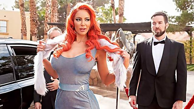 Redhead hooker with big boobs Nicolette Shea rides on a big dick
