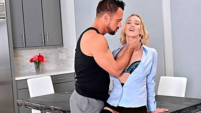 Lusty blonde with small tits Riley Reyes fucked by an athlete