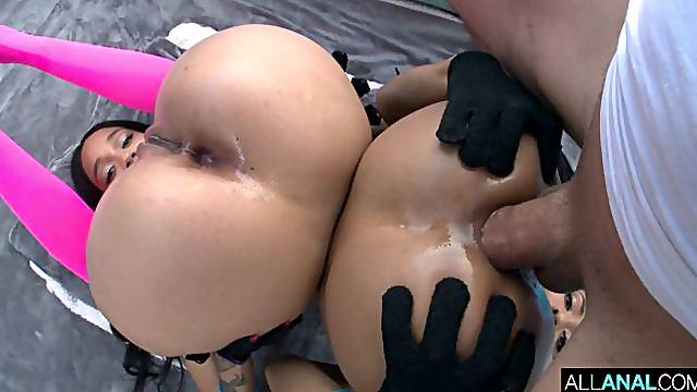 Cute ebonies Julie Kay and Kira Noir are fucking with a fat white dick
