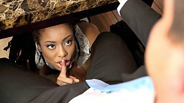 Bitchy ebony maid in stockings Kira Noir screwed by a rich white man