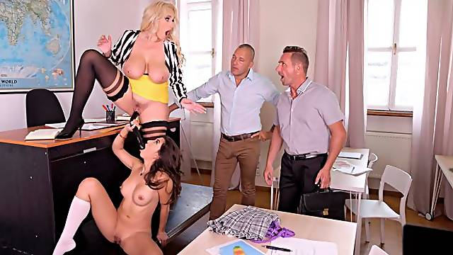 Good-looking chicks Angel Wicky and Frida Sante fucked by two men