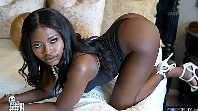 Black mademoiselle Noemie Bilas likes interracial sex so much