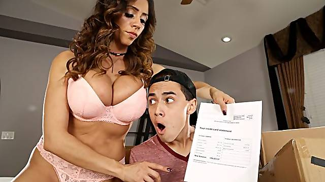 Lovely busty MILF Ariella Ferrera opens her crack for a long young dick