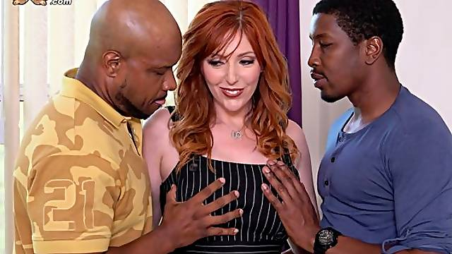 Passionate redhead angel Lauren Phillips fucked by two black dicks