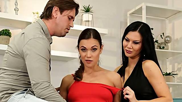Two great-looking brunettes Alyssa Reece and Jasmine Jae VS big dick