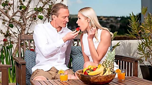 Lusty blonde teen Angelika Grays is enjoying intensive anal sex