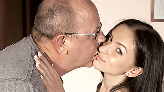 Very young and slutty girlfriend Sasha Rose fucked by an old man