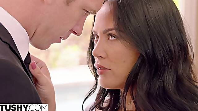 Anal sex in the missionary pose with a gorgeous brunette Kristina Rose
