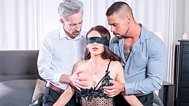 Two men are double penetrating a passionate babe Kate Rich