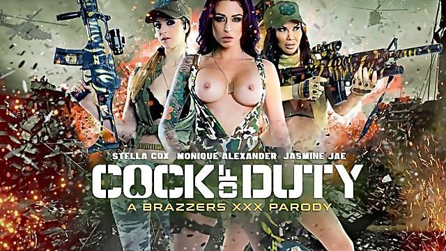 Adorable models Monique Alexander, Stella Cox and Jasmine Jae share a dick