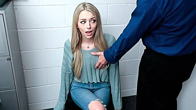 Cute teen blonde Lily Larimar is getting fucked by a long penis