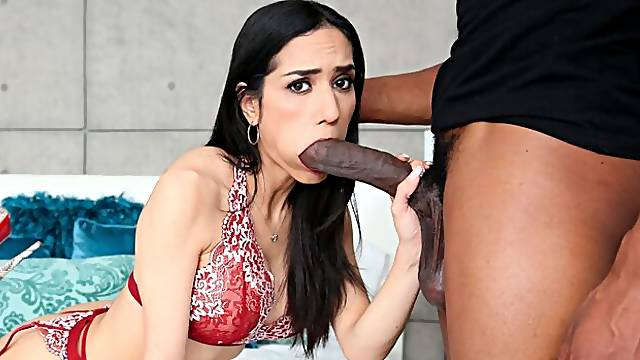 Big-boobed brunette Tia Cyrus screwed by a hard black snake