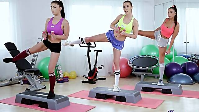 Sweet babes Alexis Crystal, Sabrisse and Teana fuck in the gym