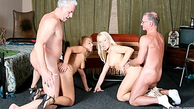 An old fucker screwed a passionate young blonde Nikky Thorne