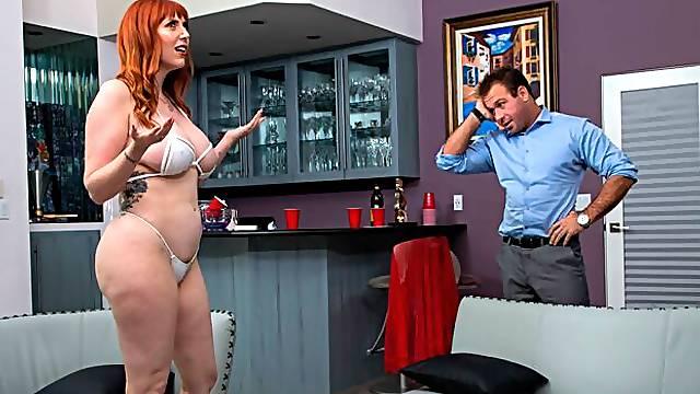 Big-assed redhead Lauren Phillips getting banged brutally