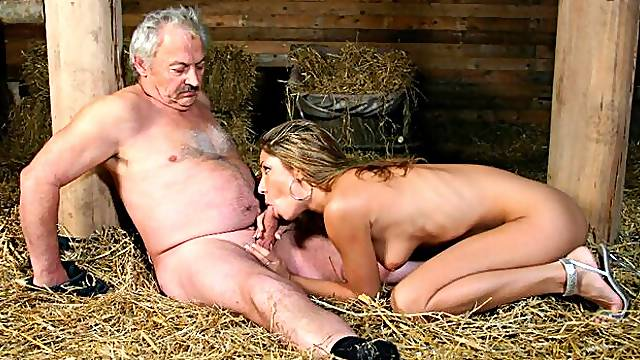 Crazy old Vs young porn in the barn with a nice-looking Rachel Evans