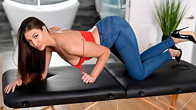 Aesthetic brunette Bella Rolland sucks a long sausage with pleasure