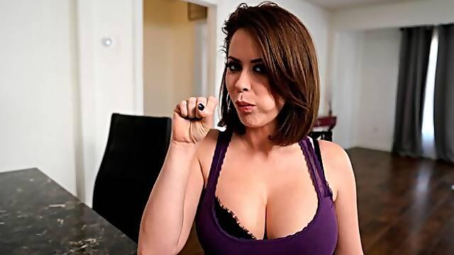 Short-haired angel Emily Addison is enjoying dick-sucking
