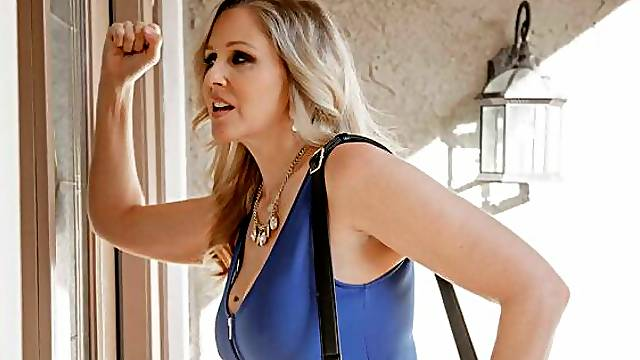 Lovely lady with huge boobs Julia Ann fucked in the doggy style pose