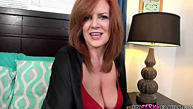 Sweet redhead lady Andi James rides on a big dick in the bed