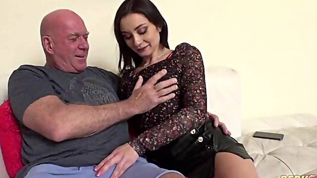 Cute-looking brunette Valentina Bianco gets fucked by a large penis