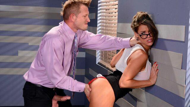 Fake-boobed brunette Peta Jensen is enjoying intensive sex so much