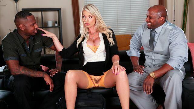 Cute busty mademoiselle Rachael Cavalli rammed by two blacks