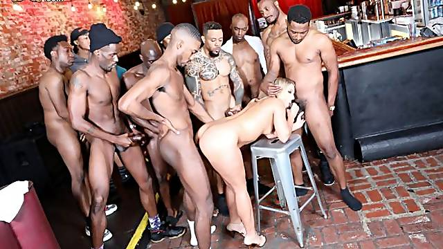 Brutal interracial gangbang and bukkake with a hot blonde Candice Dare